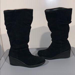 Nine West Black Wedge Boots, 6.5
